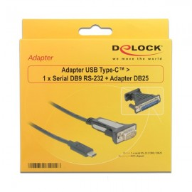 DELOCK Adapter από Serial DB9 RS-232 ή Adapter DB25 σε USB Type-C