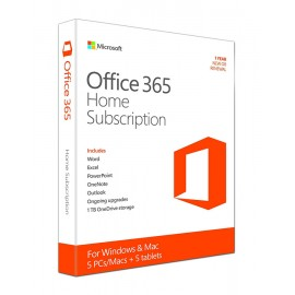 MICROSOFT Office 365 Home, 5PCs/Macs + 5 Tablets, 1Y, Eurozone Medialess