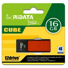 RIDATA USB Flash Drive Cube 9F616G0RDVD02, 16GB, USB 2.0, κόκκινο