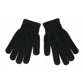 Πλεκτά γάντια γυναικεία, κατάλληλα για οθόνες αφής, μαύρα