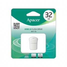 APACER USB Flash Drive AH116, USB 2.0, 32GB, White