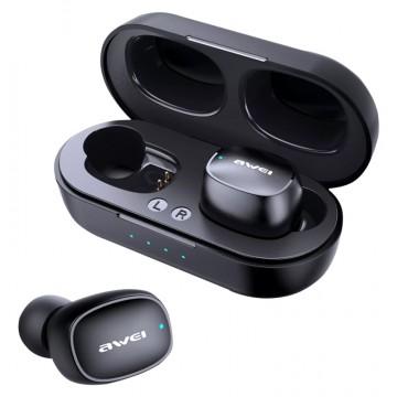 AWEI earphones με θήκη φόρτισης T13, True Wireless, μαύρα