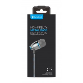 CELEBRAT Earphones με μικρόφωνο C3-BL, On-Off, Metal, μπλε