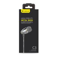 CELEBRAT Earphones με μικρόφωνο C3-BL, On-Off, Metal,  χρυσά