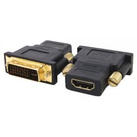 POWERTECH adapter από DVI I (24+5) M σε HDMI F, χρυσό