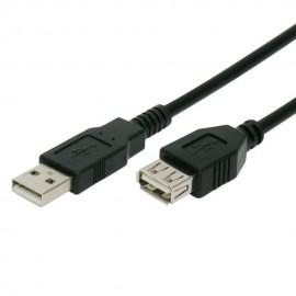 POWERTECH Καλώδιο USB 2.0 σε USB (F), copper, 3m, μαύρο