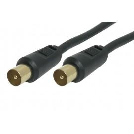 Powertech καλώδιο κεραίας για τηλεόραση pal - 1.5m - (M-M) - BLACK