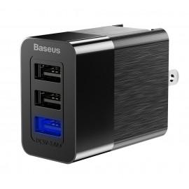 BASEUS φορτιστής τοίχου CCALL-GJ01, 3x USB, 3.4A, EU/UK/US, μαύρο