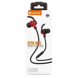 YISON Earphones με μικρόφωνο CX300, on/off, 1.2m, με μαγνήτη, κόκκινα