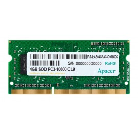 APACER Μνήμη DDR3 SODimm, 4GB, 1333MHz, PC3-10600, CL9