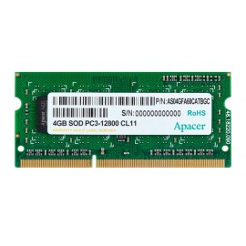 APACER Μνήμη DDR3 SODimm, 4GB, 1600MHz, PC3-12800, CL11