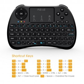RIITEK Ασύρματο πληκτρολόγιο mini H9S με touchpad, 2.4GHz, μαύρο