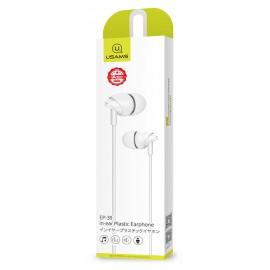 USAMS earphones με μικρόφωνο EP-39, 10mm, 1.2m, λευκά