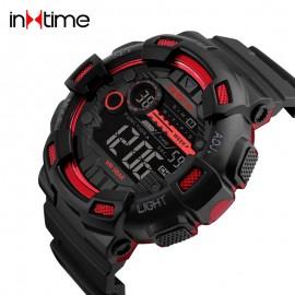 INTIME Ρολόι χειρός Chrono-02, Double time, EL φωτισμός, κόκκινο