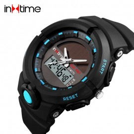 INTIME Ρολόι χειρός Solar-01, Ηλιακό, διπλή ώρα, El φωτισμός, μπλε