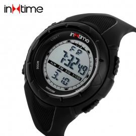 INTIME Ρολόι χειρός Chrono-04, Double time, EL φωτισμός, μαύρο