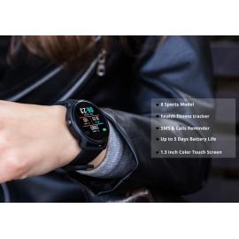"""ΙΝΤΙΜΕ Smartwatch S08, 1.3"""" έγχρωμο, IP68, HR & Blood pressure, μαύρο"""