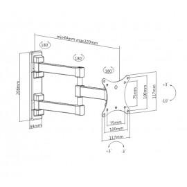 "BRATECK Επιτοίχια Βάση Διπλού Βραχίονα KLA26-113 για Monitor 13-27"" 20kg"