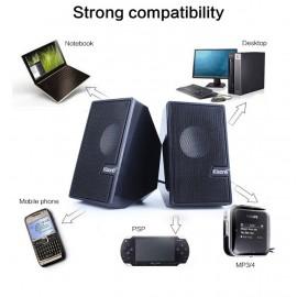 KISONLI Multimedia ηχεία S-555, 2.0 ch, 2x 3W, USB, μαύρα