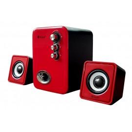 KISONLI Multimedia ηχεία U-2100, 2.1ch, 5W & 2x 3W, USB, κόκκινο