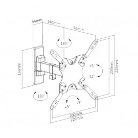 "Brateck επιτοίχια βάση LDA21-221 για monitor 13-42"", 20kg"