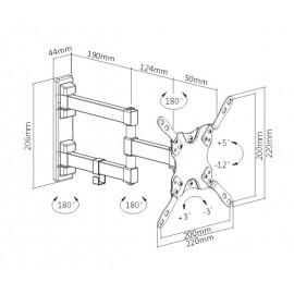 "BRATECK επιτοίχια βάση διπλού βραχίονα LDA21-223 για μόνιτορ 13-42"" 20kg"