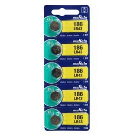 MURATA Αλκαλικές μπαταρίες ρολογιού LR43 MR-LR43, 1.5V, 5τμχ