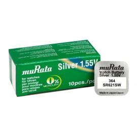 MURATA μπαταρία Silver Oxide για ρολόγια SR621SW, 1.55V, No 364, 10τμχ