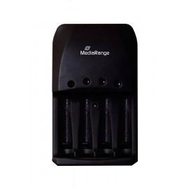 MEDIARANGE Plug-in φορτιστής για Ni-MH/Ni-Cd μπαταρίες, 4 slots, Black