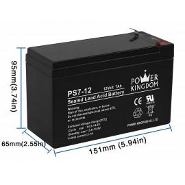 POWER KINGDOM μπαταρία μολύβδου PS7-12-T1, 12Volt 7Ah, T1