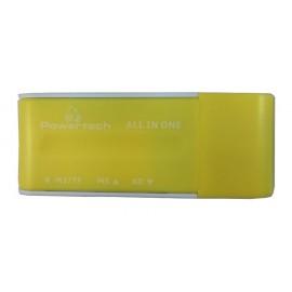 POWERTECH Mini Card Reader, USB, κίτρινο