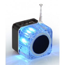POWERTECH Speaker, Portable, FM Radio, 3W, Led Screen, Black