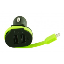 POWERTECH Φορτιστής Αυτοκινήτου PT-420, 2x USB + 1x καλώδιο, 6A, Black