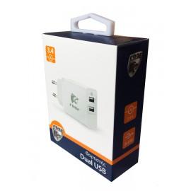 ROAR Φορτιστής PT-499, 2x USB, 3.4A, White