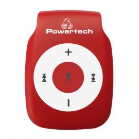 POWERTECH MP3 Player με clip, επαναφορτιζόμενο, microSD, Κόκκινο