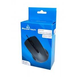 POWERTECH Ενσύρματο ποντίκι, Οπτικό, 1200DPI, USB, μαύρο