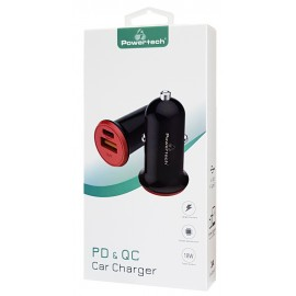 POWERTECH Φορτιστής Αυτοκινήτου PT-713, 1x USB, 1x Type-C, 3A, μαύρο
