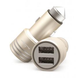 POWERTECH Φορτιστής Αυτοκινήτου PT-758, 2x USB, 2.1A, χρυσός