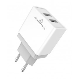 POWERTECH Φορτιστής τοίχου PT-760, 2x USB, 2.1A, λευκός