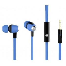 CELEBRAT Earphones με μικρόφωνο S-30, on/off, 10mm, 1.2m flat, μπλε