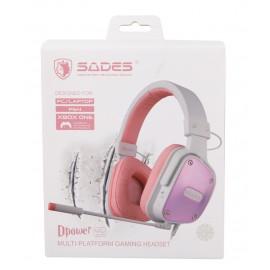 SADES Gaming Headset Dpower, 3.5mm, 40mm ακουστικά, Pink