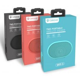 CELEBRAT Φορητό ηχείο Sky-3, TWS bluetooth/3.5mm/SD Card, 1200mAh, μαύρο