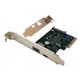POWERTECH Κάρτα Επέκτασης PCI-e σε USB 3.1 A & Type-C , Chipset ASM1142