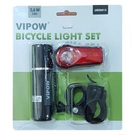 VIPOW σετ φωτισμού ποδηλάτου URZ0015, 3.6W & 0.4W, μαύρο