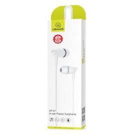 USAMS earphones με μικρόφωνο EP-37, 10mm, 1.2m, λευκά