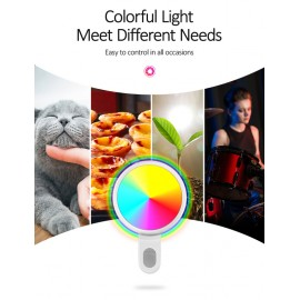 USAMS LED προβολέας για selfie, RGB led, 300mAh, λευκός