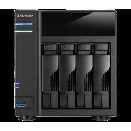 ASUSTOR NAS AS6104T, DT, 4 BAYS HOT SWAP, INTEL CELERON J3060 1.6GHz DC(burst 2.16GHz), 2GB (MAX 8GB), 3xUSB3.0, 2xUSB2.0, eSATAx2, GbEx2, HDMI 1.4b, WoL, S/PDIF, IR, 3YW.