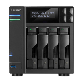 ASUSTOR NAS AS6404T, DT, 4 BAYS HOT SWAP, INTEL CELERON J3455 1.5GHz QC(burst 2.3GHz), 8GB 4xUSB3.0 (1xTypeC), GbEx2, HDMI 2.0, WoL, WoW, S/PDIF, Tray Lock, IR, 3YW.