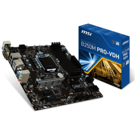 MSI MB B250M PRO-VDH, SOCKET INTEL LGA1151 6th/7th GEN, CS INTEL B250, 4 DIMM SOCKETS DDR4, VGA/DVI-D/HDMI, LAN GIGABIT, MICRO-ATX, 3YW.