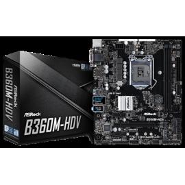 ASROCK MB B360M-HDV, SOCKET INTEL LGA1151 8th GEN, CS INTEL B360, 2 DIMM SOCKETS DDR4, D-Sub/DVI-D/HDMI, LAN GIGABIT, MICRO-ATX, 2YW.